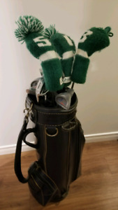 Lh Golf clubs and Leather bag