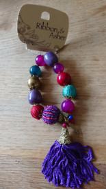 Ribbon & Asher beaded stretchy bracelet