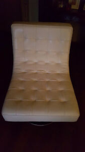 Modern white leather swivel chair