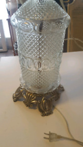Beautiful vintage glass silver lamp