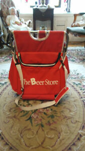 THE BEER STORE STORAGE BAG MADE INTO  SEAT, $8.00.