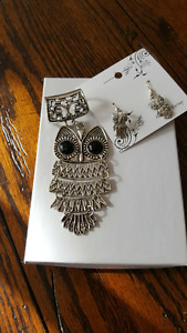 Owl pendant and earrings