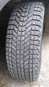 Pair 225/60/17 Firestone Winter force  tires on steel rims