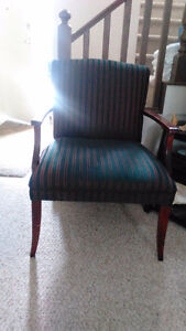 Green Striped Upholstered Chair