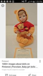 Ashton Drake pooh bear baby dolls with certificate