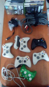 xbox 360 consoles, games, 2 working controllers, parts, etc.