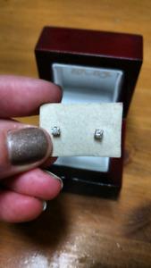 Genuine .10 each diamond & 10k gold earrings!