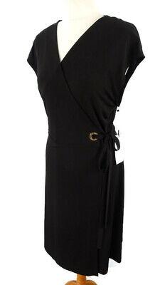 NEW Size L 14 16 Ivanka Trump Black V Neck Wrap Dress Gold Buckle Party Evening