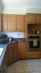 Solid Oak Cabinets - In Good Condition