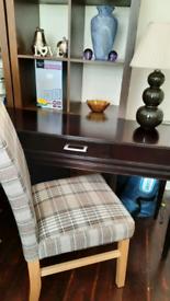 Kallax bookcase tartan chair and ebony desk