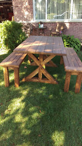 Handmade rustic Harvest / Farmhouse table with benches