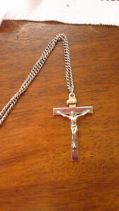 New Stainless Steel chain and crucifix cross