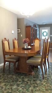 Oak Dining Room Suite - Table, Chairs, and China Cabinet
