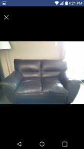 FAUX BROWN LEATHER LOVE SEAT