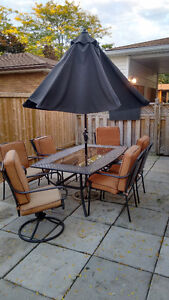 Glass Patio Table w/ 6 Chairs, Cushions and Umbrella