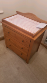 Oak changing table & matching bed/cot convertible