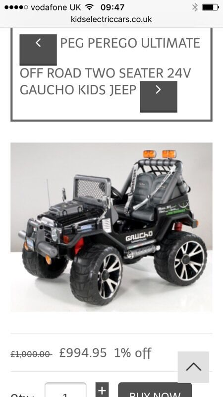 peg perego gaucho 2 seater jeep 24v currently 1000 in. Black Bedroom Furniture Sets. Home Design Ideas