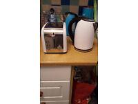 White toaster kettle set