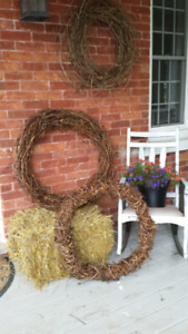 Wreaths.  For you to decorate or just leave plain with lights.