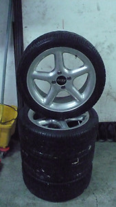 205 45 16 Toyo Proxes tires on 4x100 Eagle 5 spoke alloy rims.