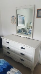 Dresser and Desk Set - Solid wood, refinished in white