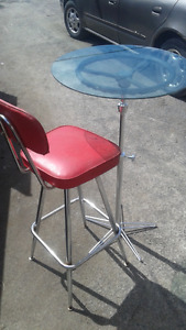 """custom made bistro table(24"""" top 40""""tall)with  swivel chair"""