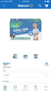 Pampers 3t-4t 100 pack-unopened (save $20 )
