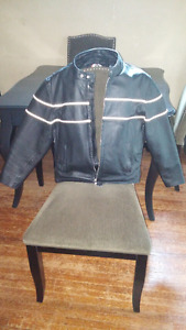 Womens XL Black leather riding jacket