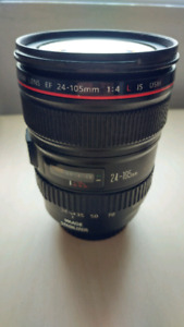 Canon EF 24-105 mm f/4L DSLR lens and hood