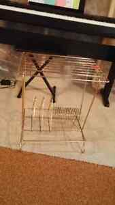 Vintage Brass Record Player Stand with Record Rack