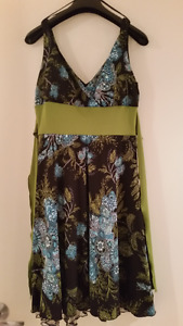 Jessica black green and blue dress with ruffle size 6