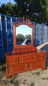 Solid Wood Dresser with Mirror - $150