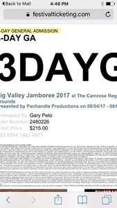 4 BVJ GA 3 Day passes + Family Camping Weekend Passes