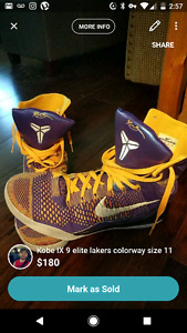Kobe IX 9 elite Lakers colorway size 11