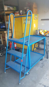 Stock Picker Shelf Cart - with a 3 Step Ladder