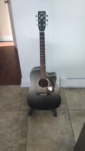 Black acoustic electric guitar for sale! Made in Quebec.