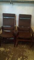 2 Vintage Tweed High Back Chairs