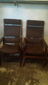 2 Vintage Tweed High Back Chairs London Ontario image 1