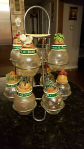 For sale stand for spices with containers