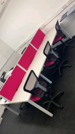 Office support desk and chairs