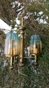 stained glass and brass chandlier