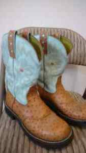 Ostrich skin cow boots woman