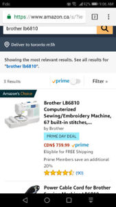 Brother lb6810 - embroidery and sewing machine