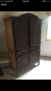 Solid Rustic Pine Armoire Cupboard Cabinet