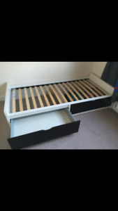 IKEA Flaxa twin bed with pullout drawers for sale
