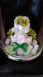 Diaper cakes and Bouquets