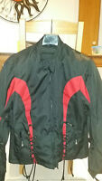 Xelement Women's Black and Red Tri-Tex Fabric Motorcycle Jacket