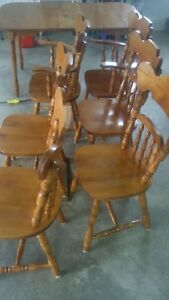 Solid maple table with 6 chairs.