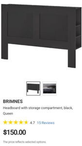 Black Queen Size Ikea Brimnes Headboard with Storage Compartment