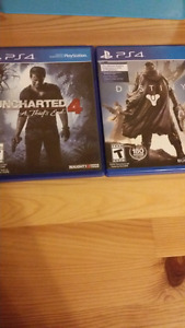 Uncharted 4 and destiny Ps4
